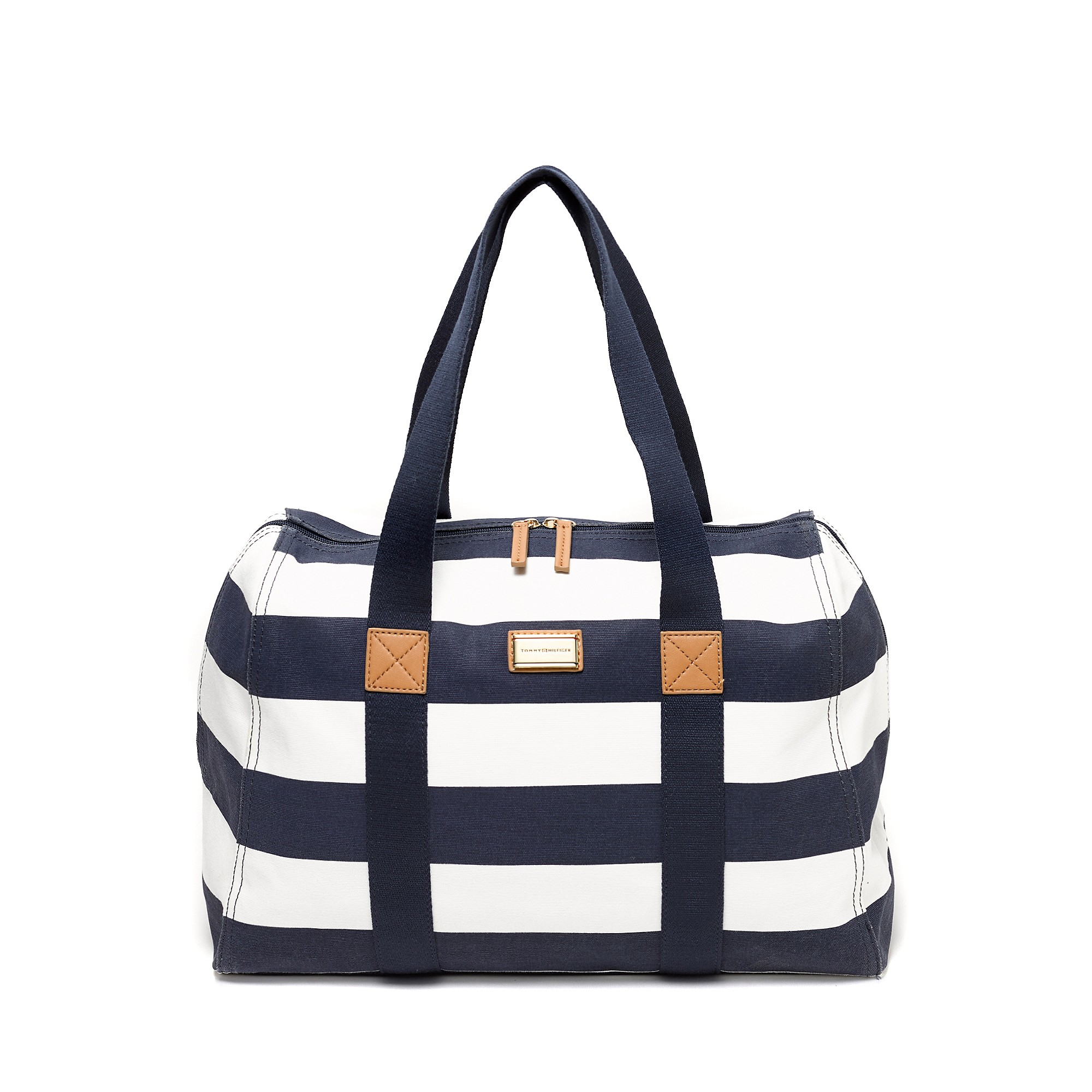 tommy hilfiger rugby stripe weekend travel tote in white navy white lyst. Black Bedroom Furniture Sets. Home Design Ideas
