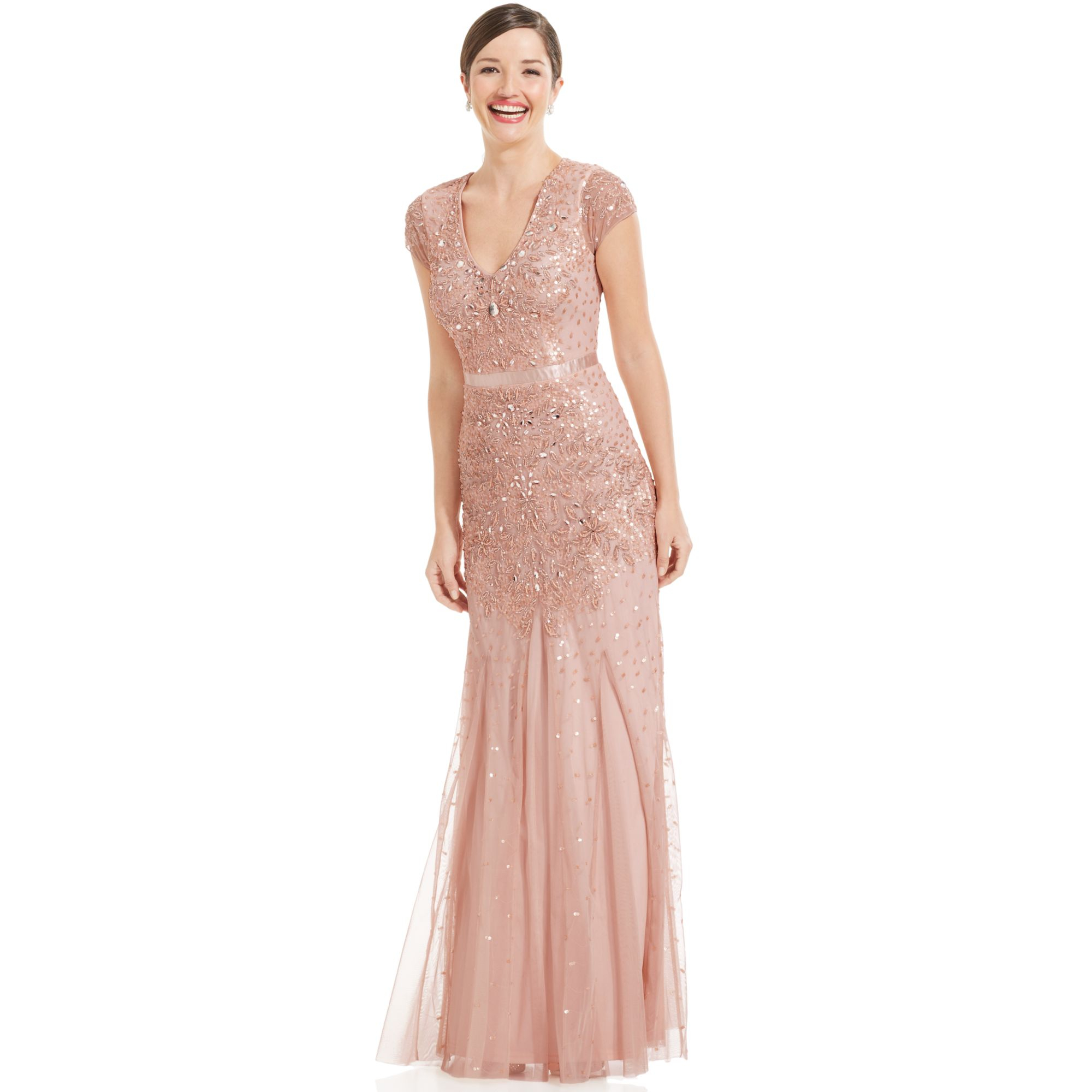 Adrianna papell cap sleeve embellished gown in pink blush for Macy wedding dresses mother of the bride
