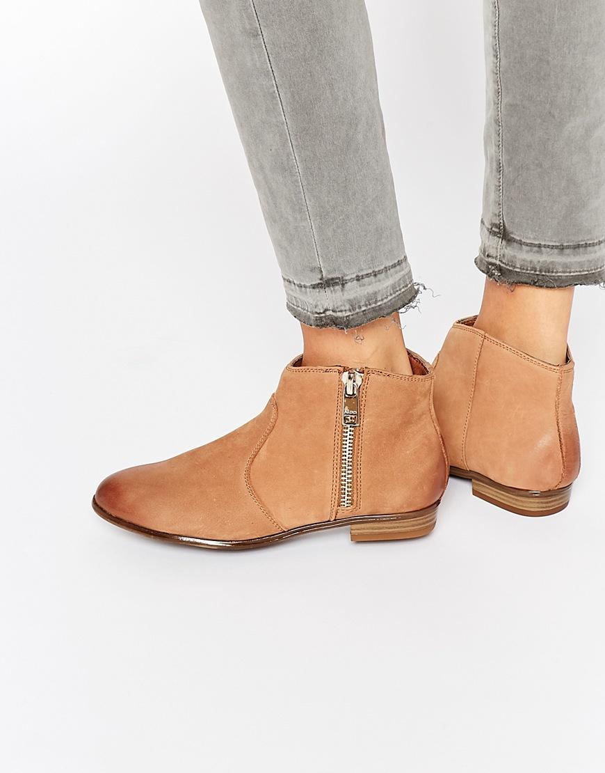 902c9c08604e Lyst - ALDO Ldo Alissonn Leather Camel Flat Boots in Brown