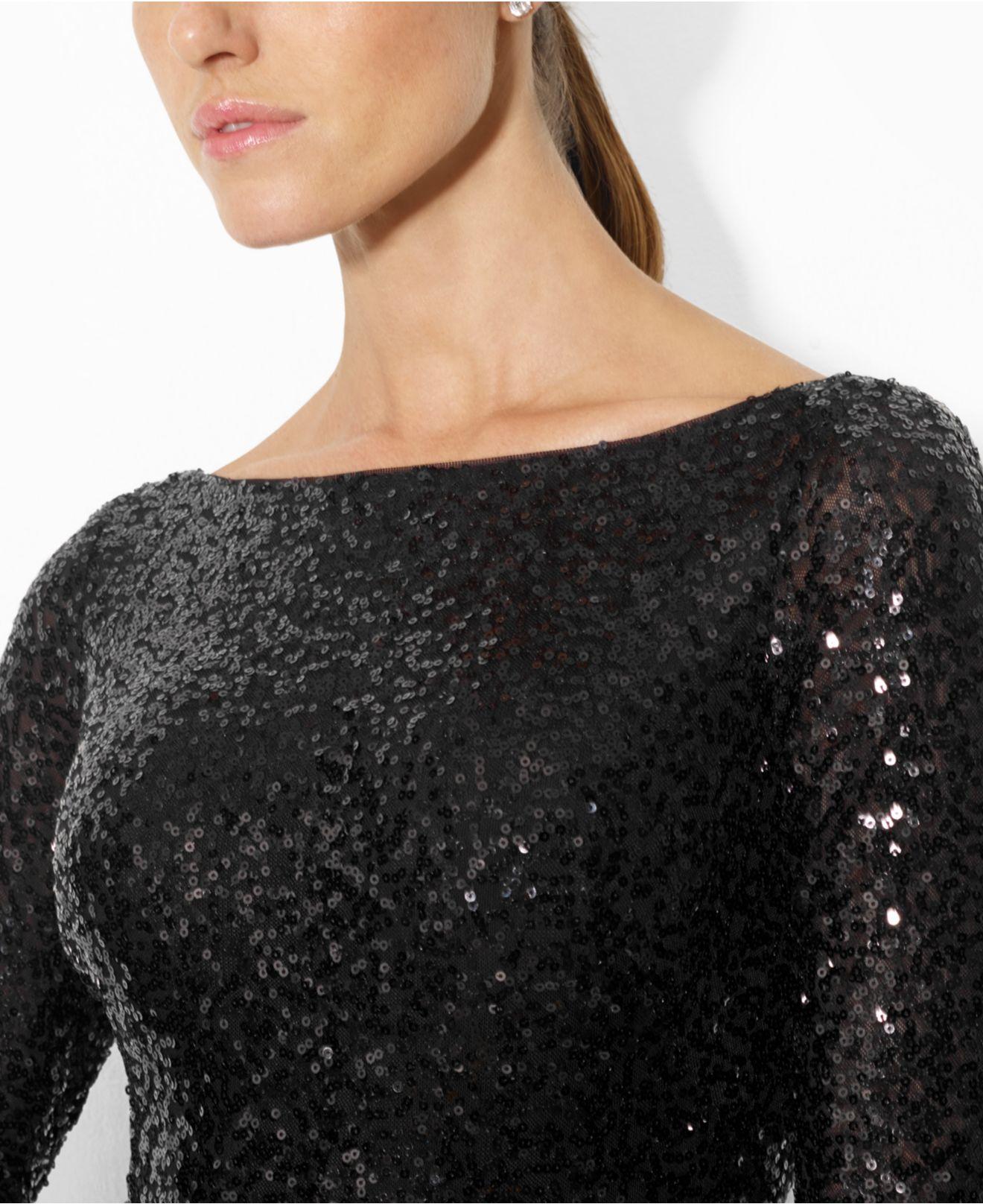 ralph lauren long sleeve sequin gown