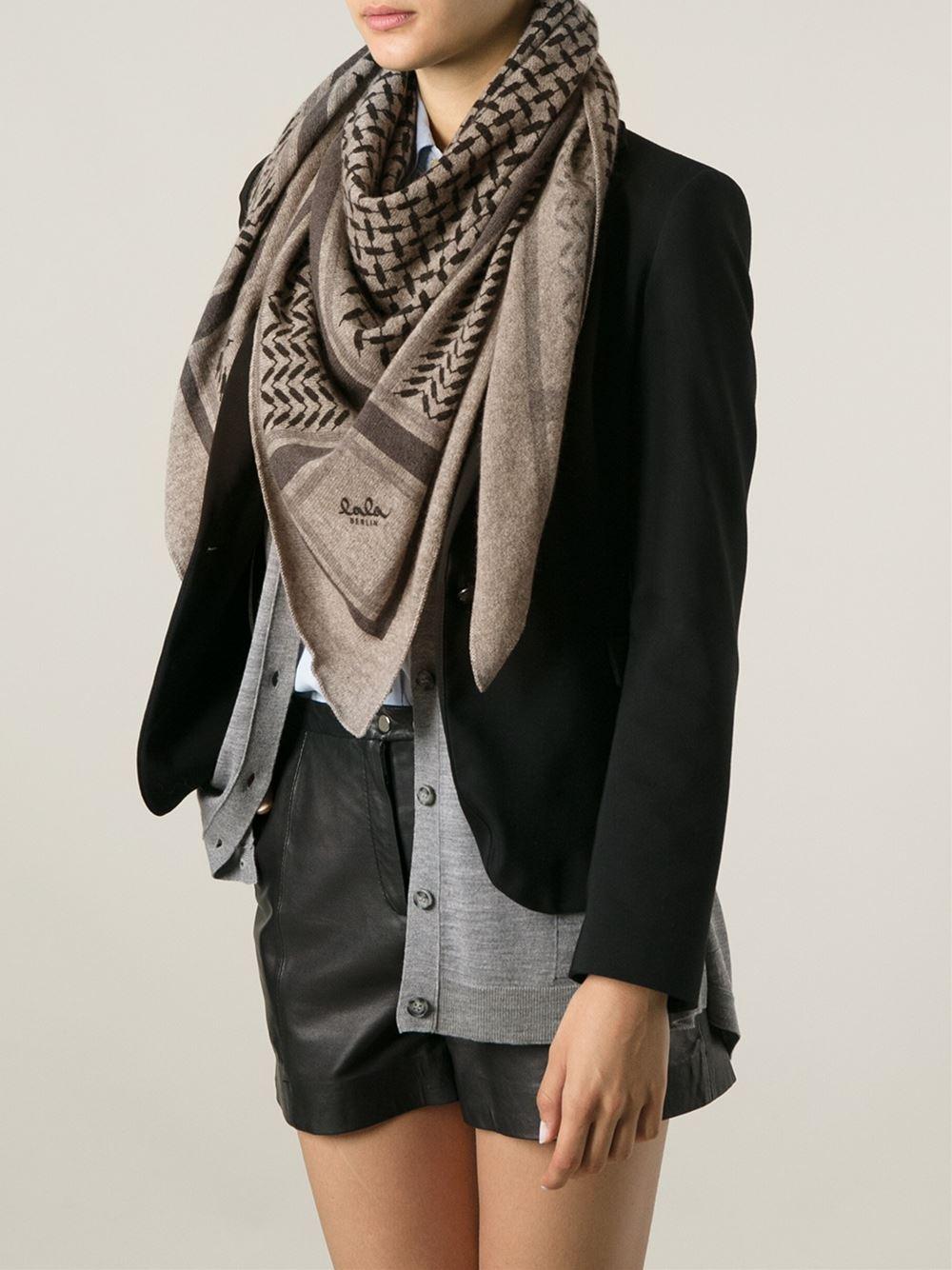 Lyst - Lala berlin Trinity Knit Triangle Scarf in Brown