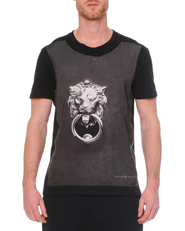 Lyst alexander mcqueen crewneck graphic print t shirt in for Alexander mcqueen shirt men