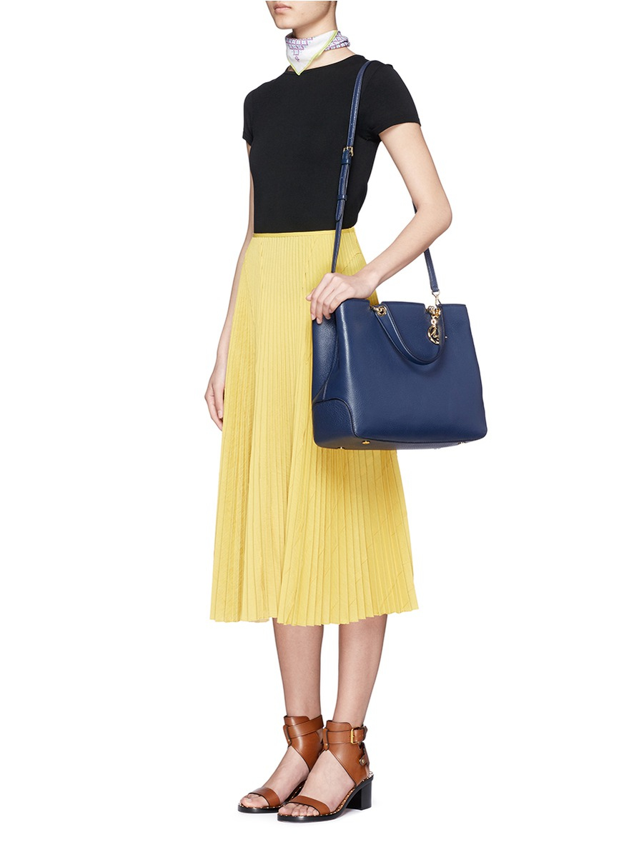 cd352f37e5ab Michael Kors 'anabelle' Large Leather Top Zip Tote in Blue - Lyst