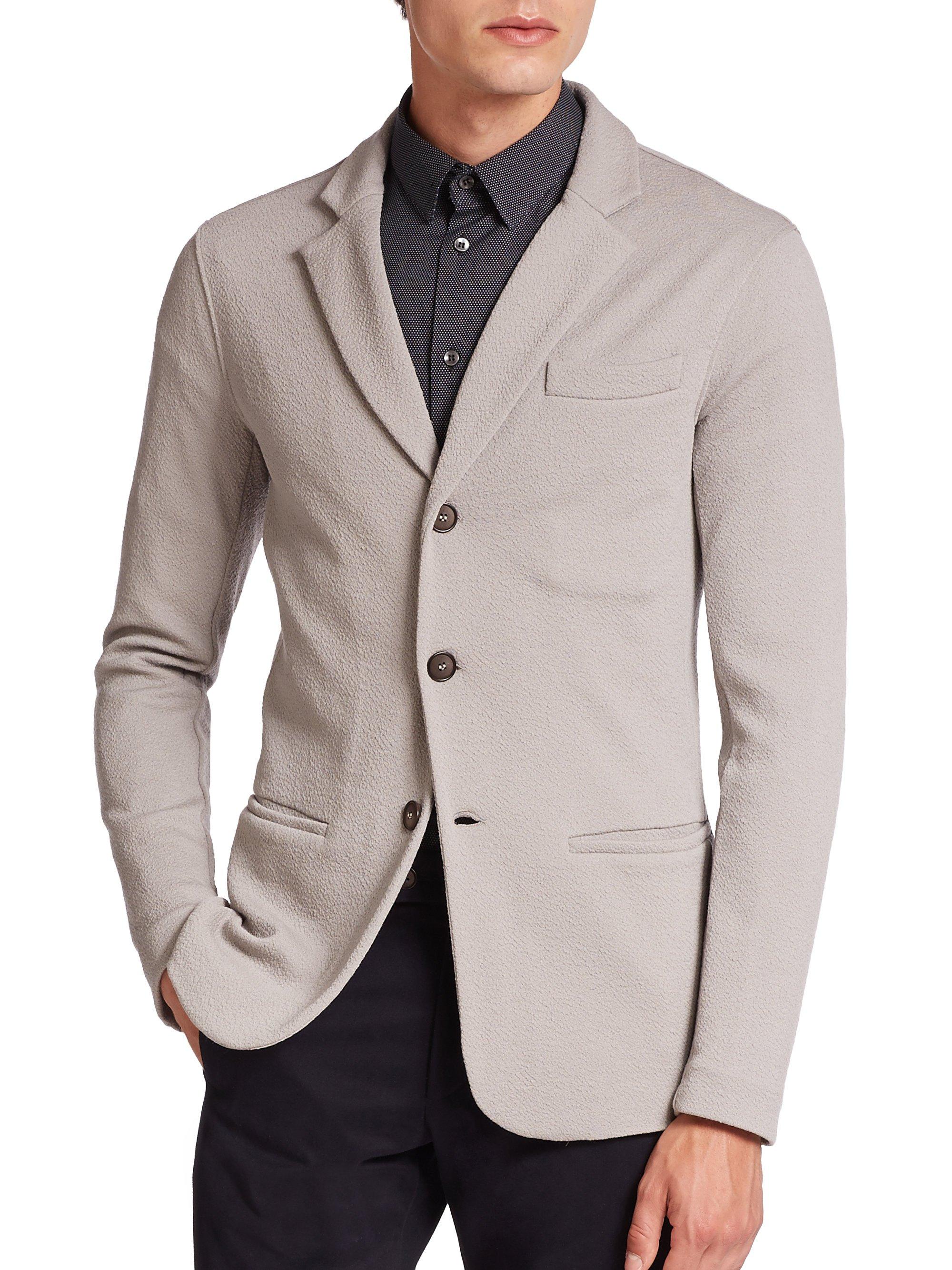 Lyst Giorgio Armani Textured Wool Blazer In Gray For Men
