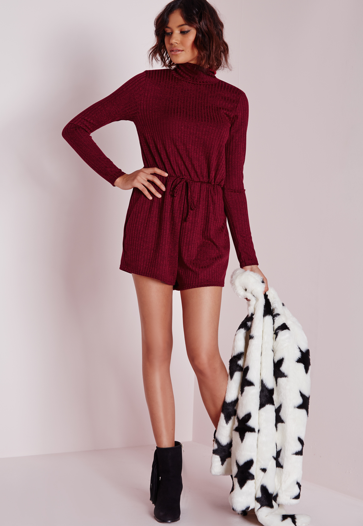 2a1afbd0b9b Lyst - Missguided Ribbed Long Sleeve Romper Burgundy in Red
