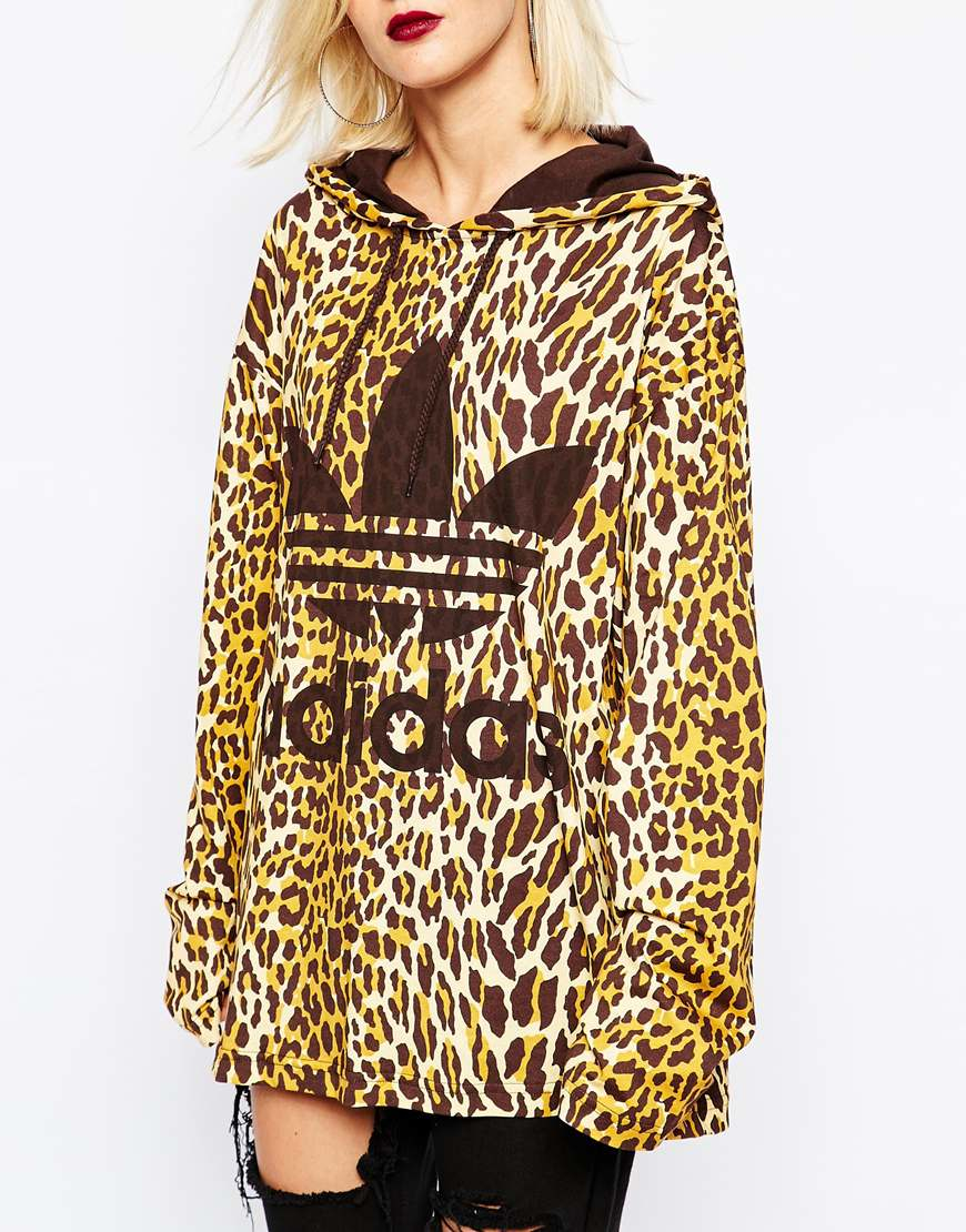 san francisco 2698e 01eac Lyst - adidas Originals Originals Jeremy Scott Long Sleeve Hooded T-shirt  In Leopard Print With Large Logo