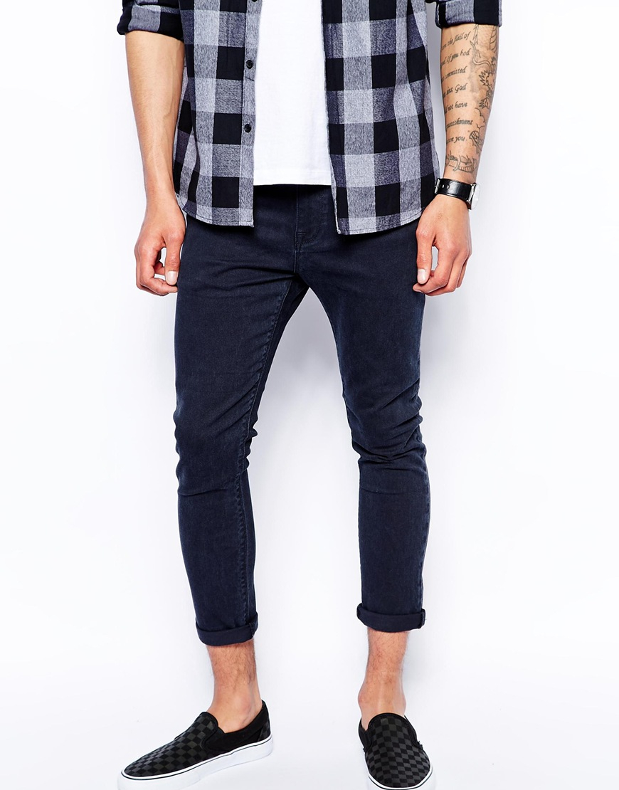 Asos Cropped Super Skinny Jeans In Washed Black in Black for Men