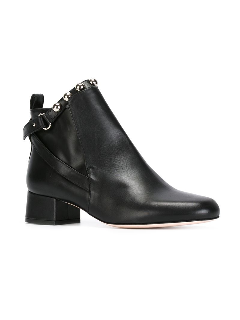 Lyst Red Valentino Studded Strap Ankle Boots In Black