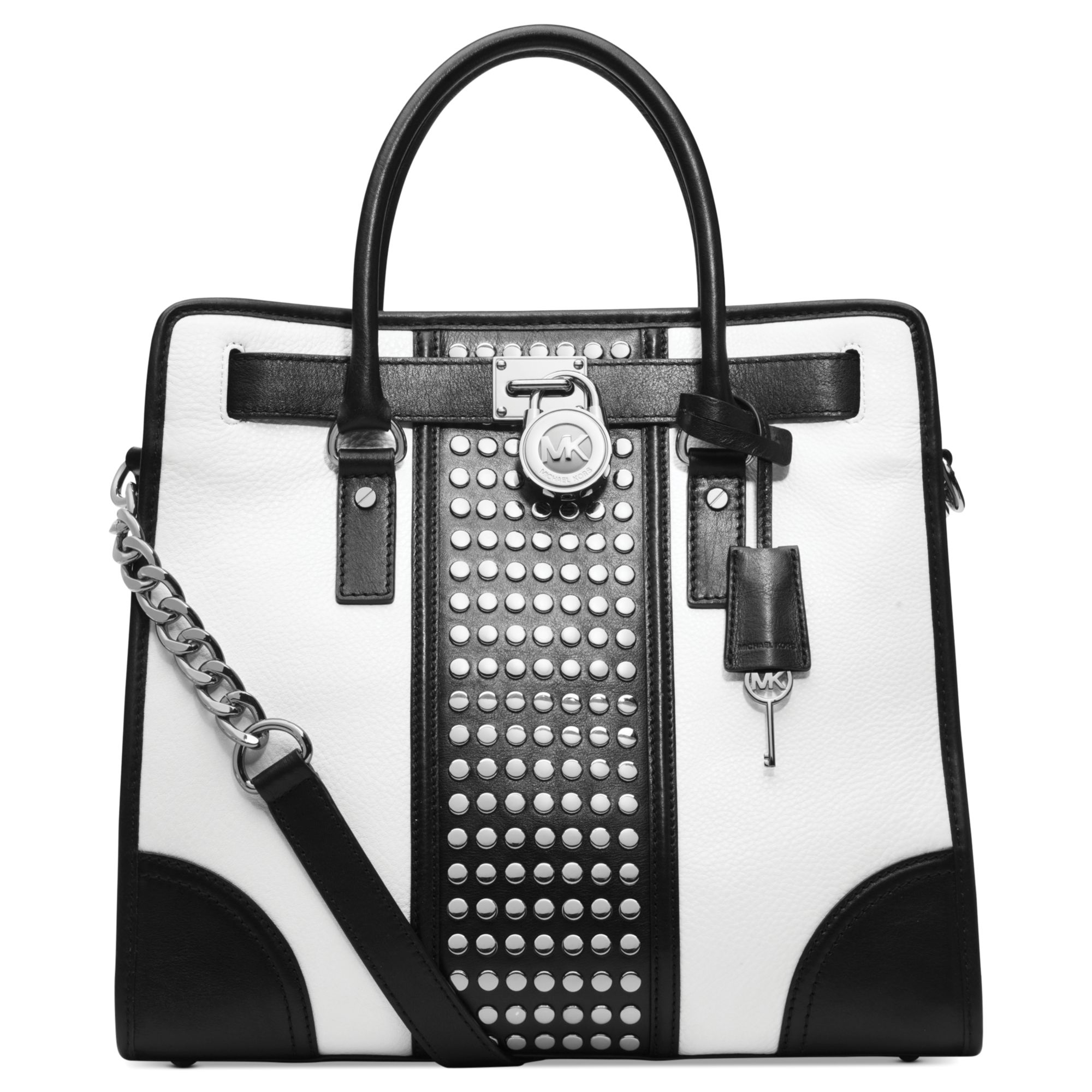 Michael kors Michael Hamilton Center Stripe Studded Large Tote in ...