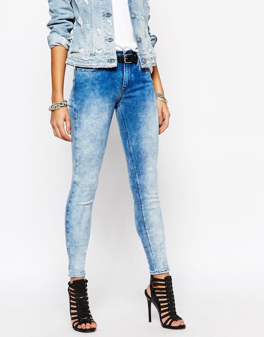 Replay Joy High Waist Faded Super Skinny Jeans - Blue in Blue | Lyst