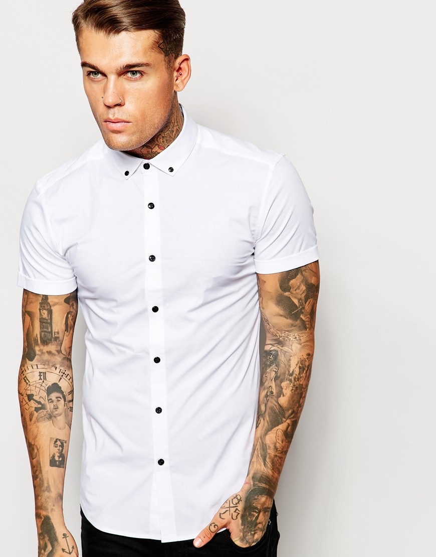 Asos Skinny Shirt In White With Button Down Collar And