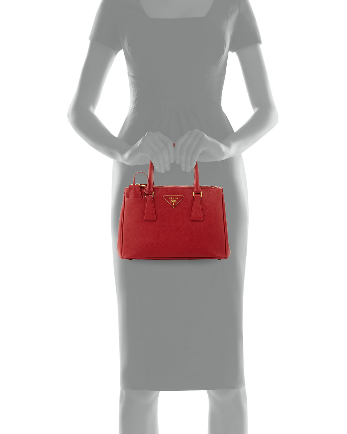 prada wallets for women - Prada Saffiano Baby Executive Tote Bag With Strap in Red | Lyst