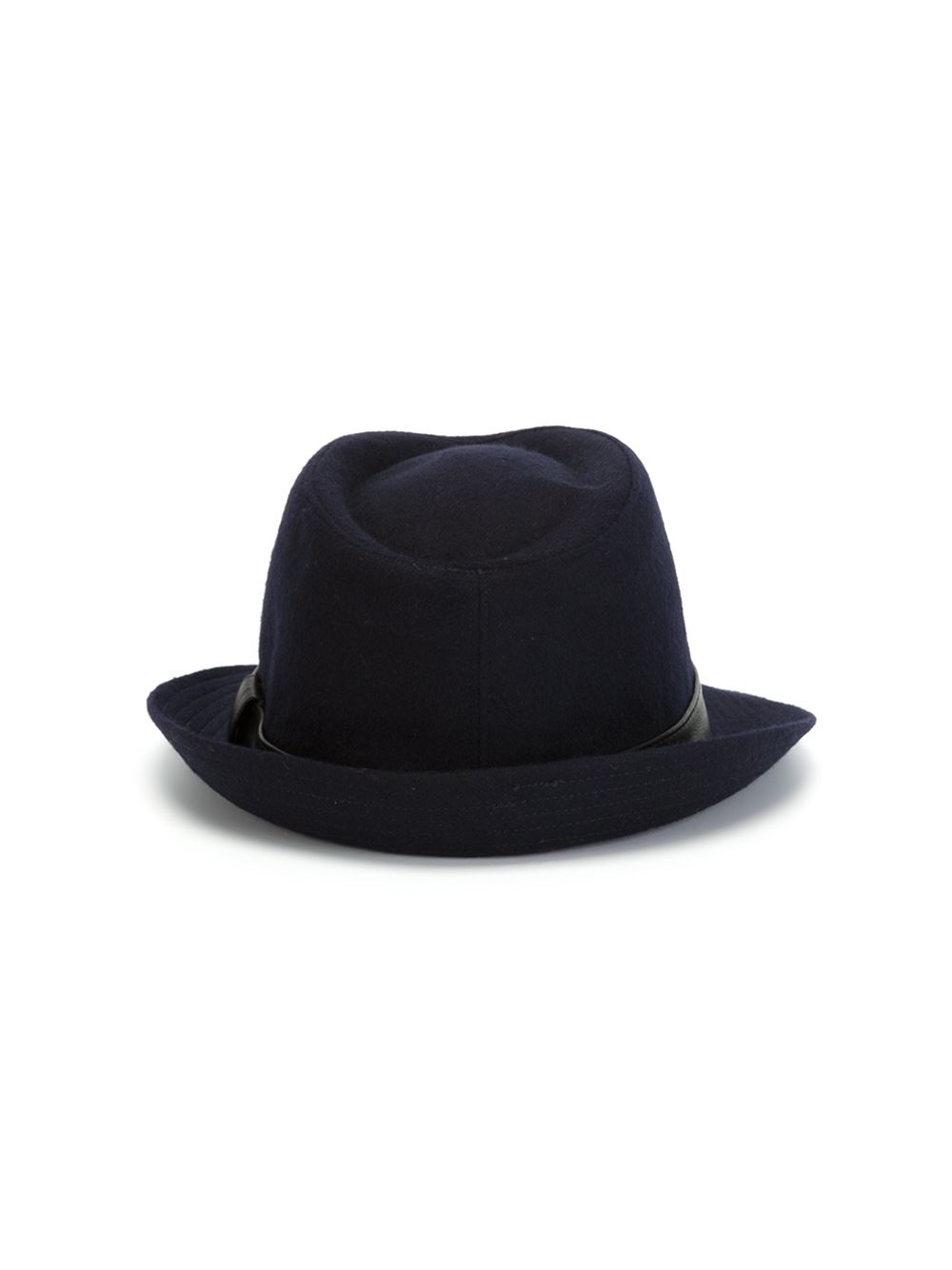 19b96053765 Lyst - Kiton Leather Band Fedora Hat in Blue for Men