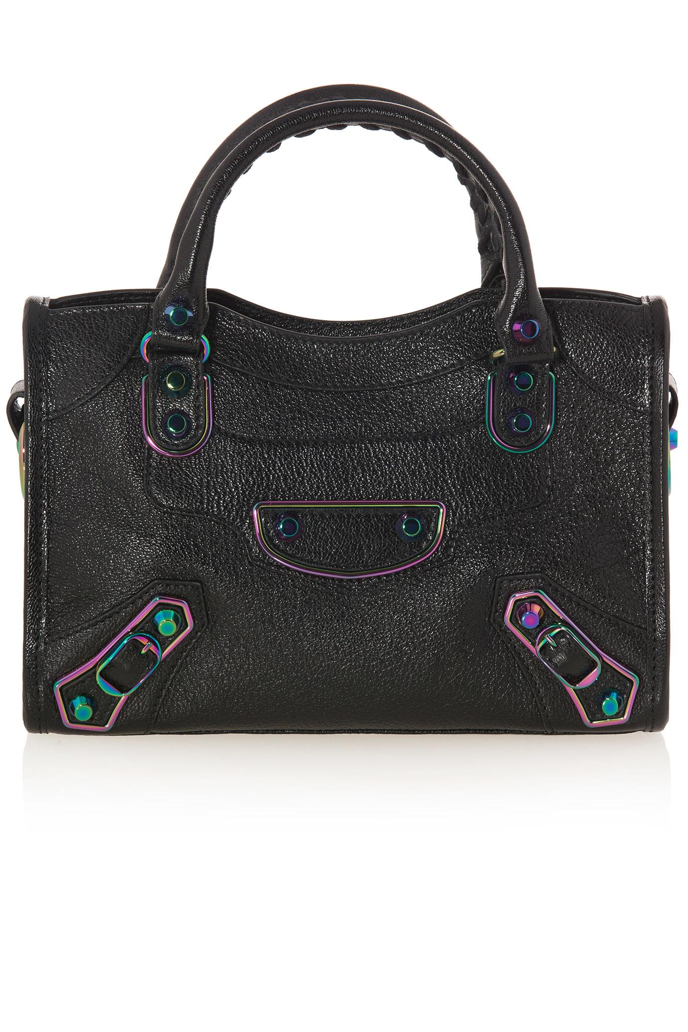 balenciaga classic mini city iridescent tote bag in black lyst. Black Bedroom Furniture Sets. Home Design Ideas