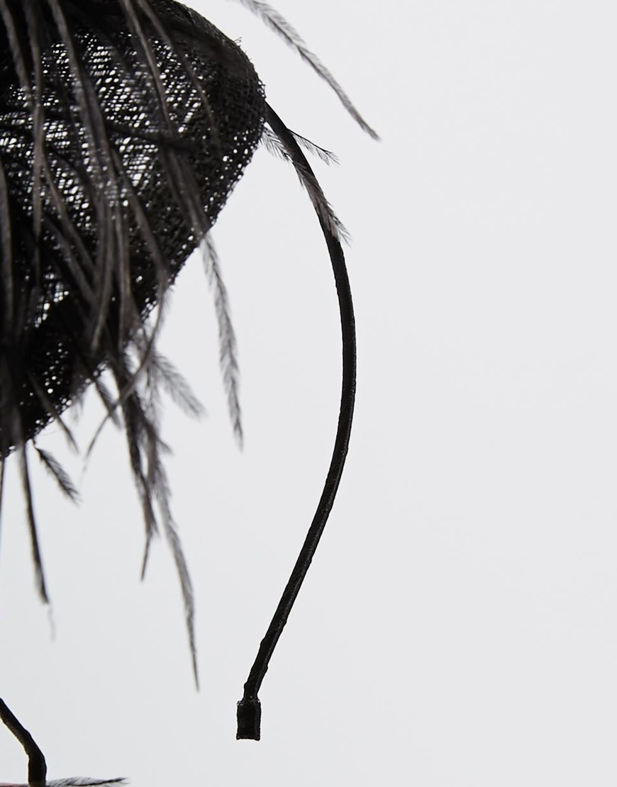 2c24ed3f8e2d9 Lyst - ASOS Feather Fascinator Hair Band in Black