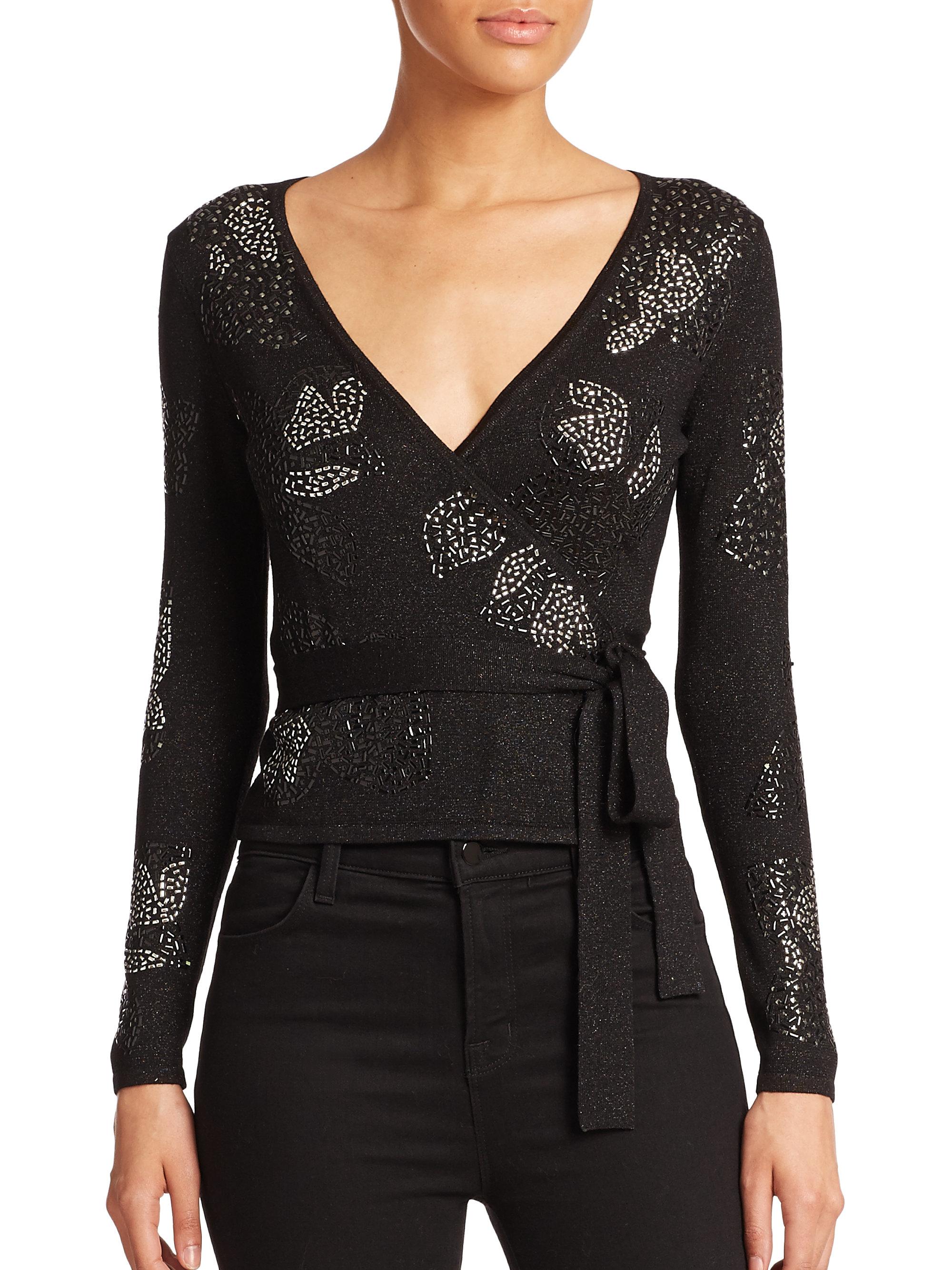Diane von furstenberg Embellished Ballerina Wrap Sweater in Black ...