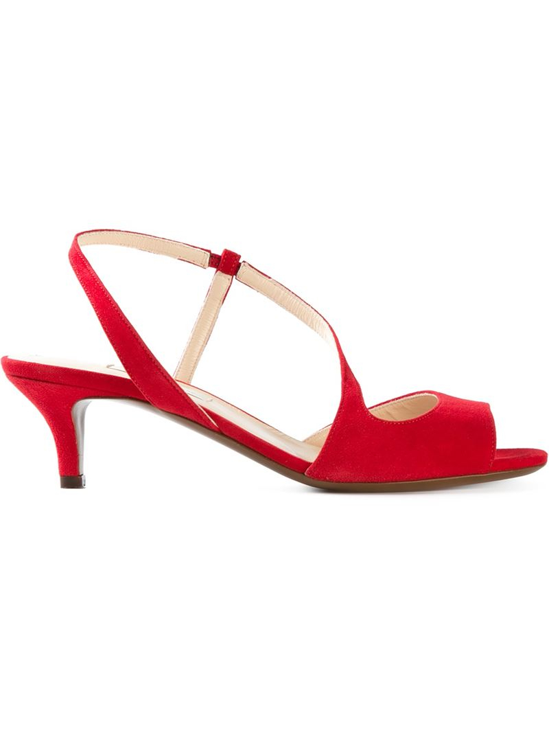 L'autre chose Kitten Heel Sandals in Red | Lyst