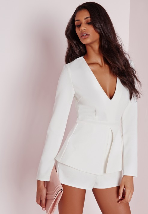 b20130d351 Lyst - Missguided Plunge Peplum Playsuit White in White