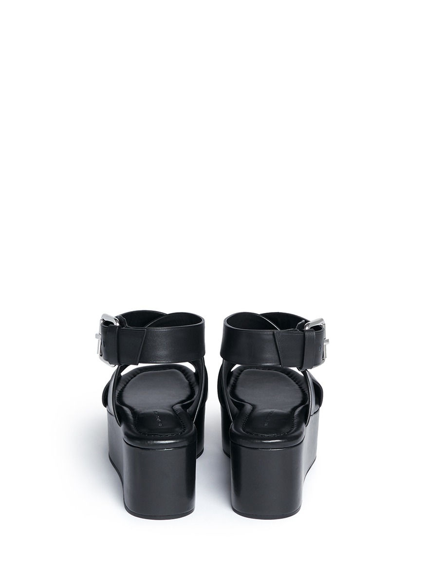 523b7094ece Lyst - Alexander Wang  rudy  Crisscross Leather Platform Sandals in Black