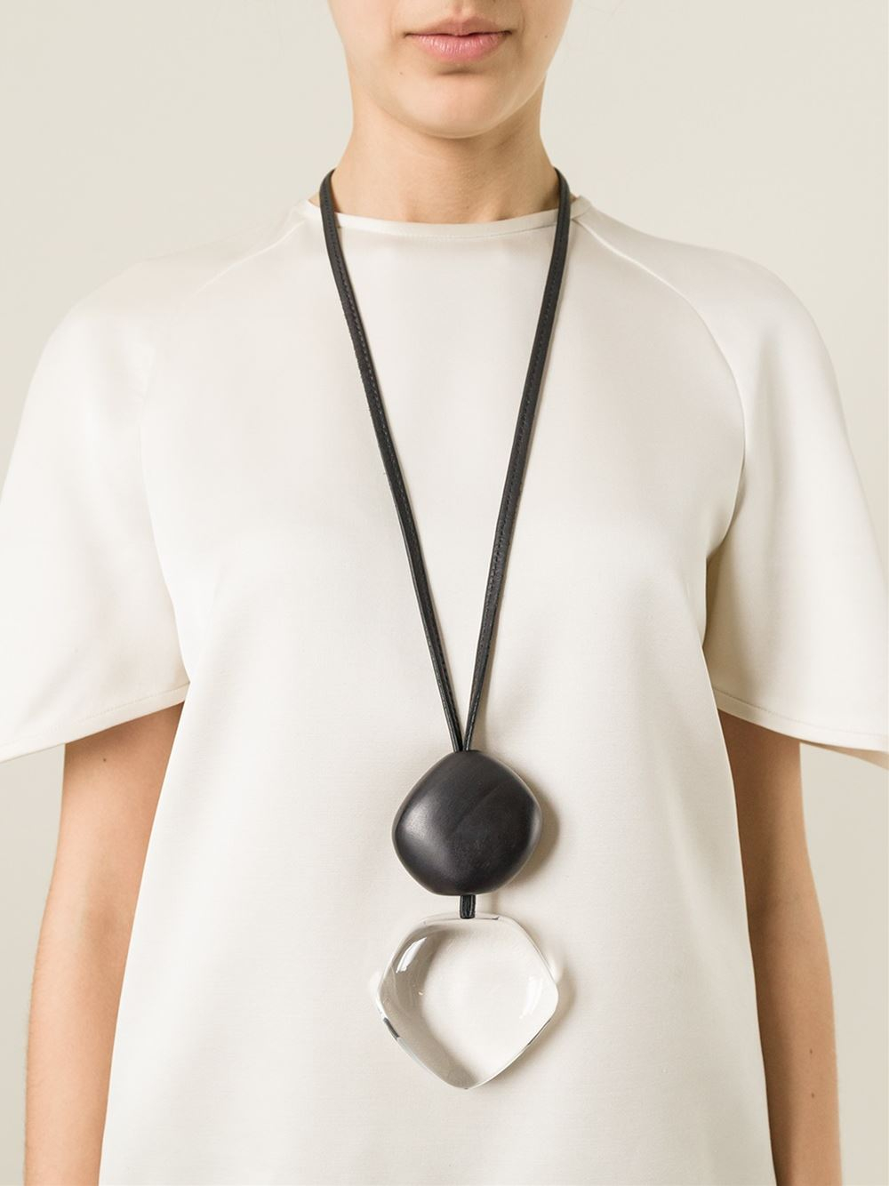 Lyst monies oversized pendant necklace in black gallery aloadofball Choice Image