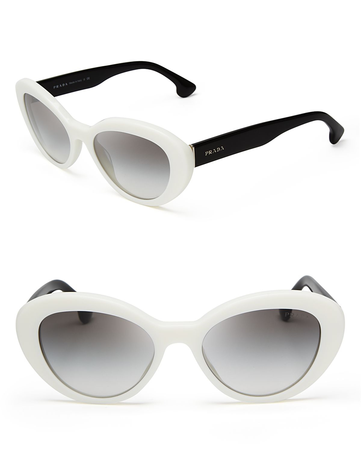 1cd2c6db5cde netherlands lyst prada cat eye sunglasses in white a2ea7 a23b3