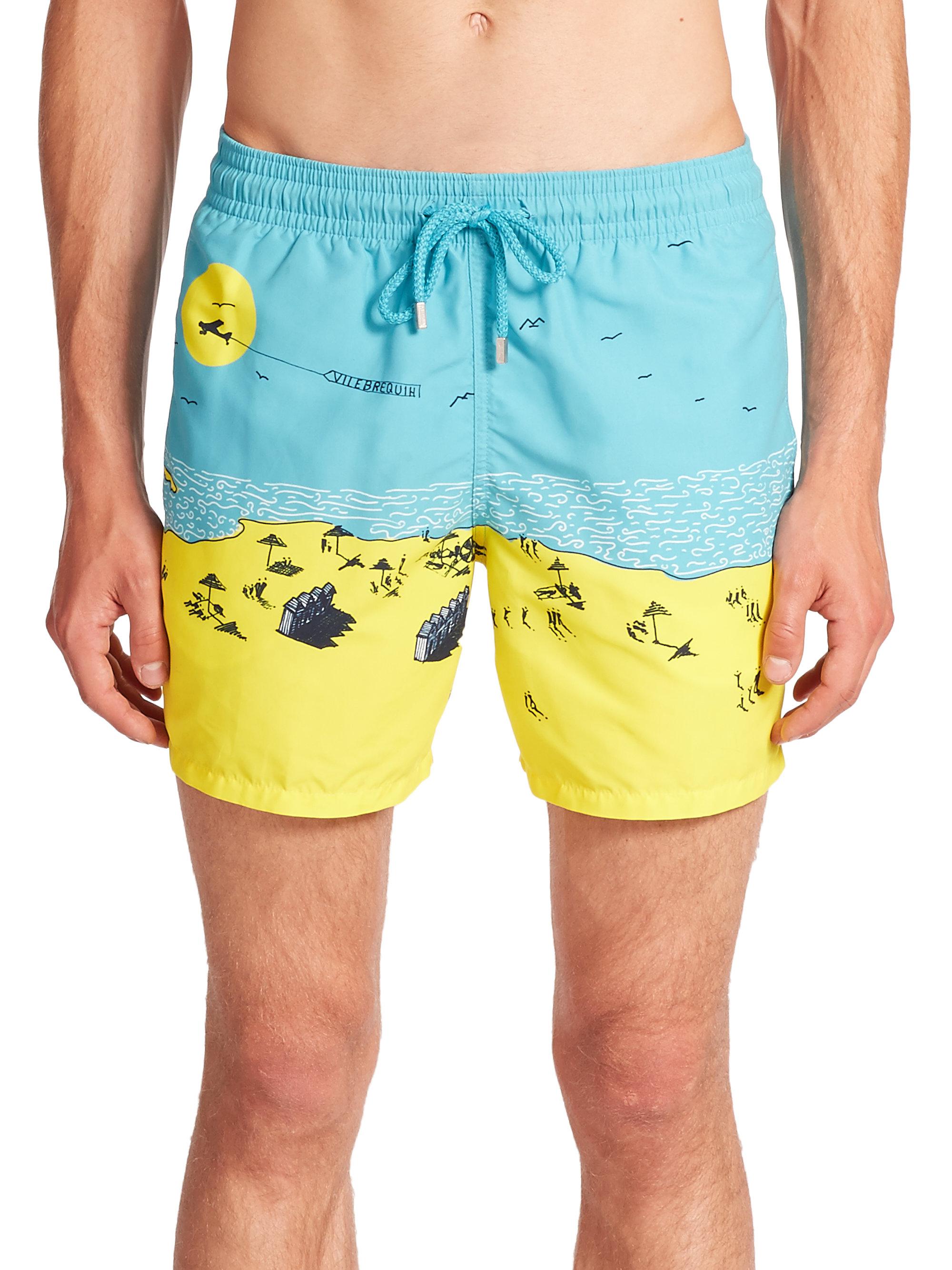 44c070ec2e Vilebrequin Beach-print Swim Trunks in Blue for Men - Lyst
