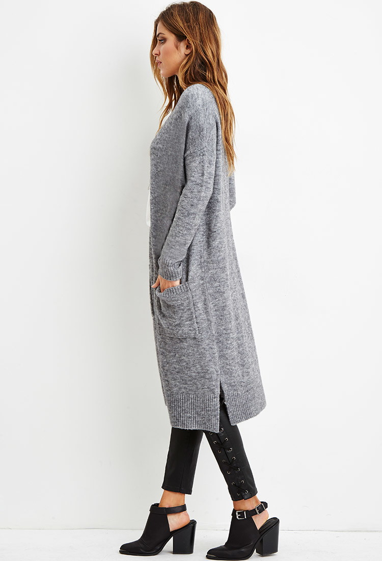 Forever 21 Marled Knit Longline Cardigan in Gray | Lyst