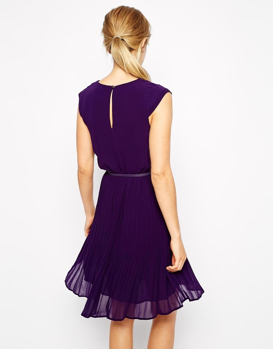 Oasis Pleated Skater Dress in Purple | Lyst