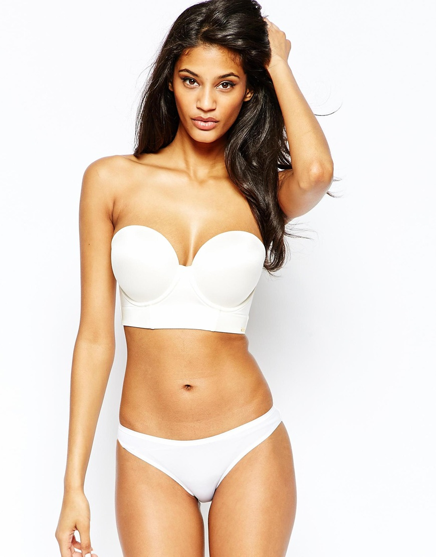 Ultimo Dd-f Fuller Bust Low Back Strapless Longline Bra in White ...