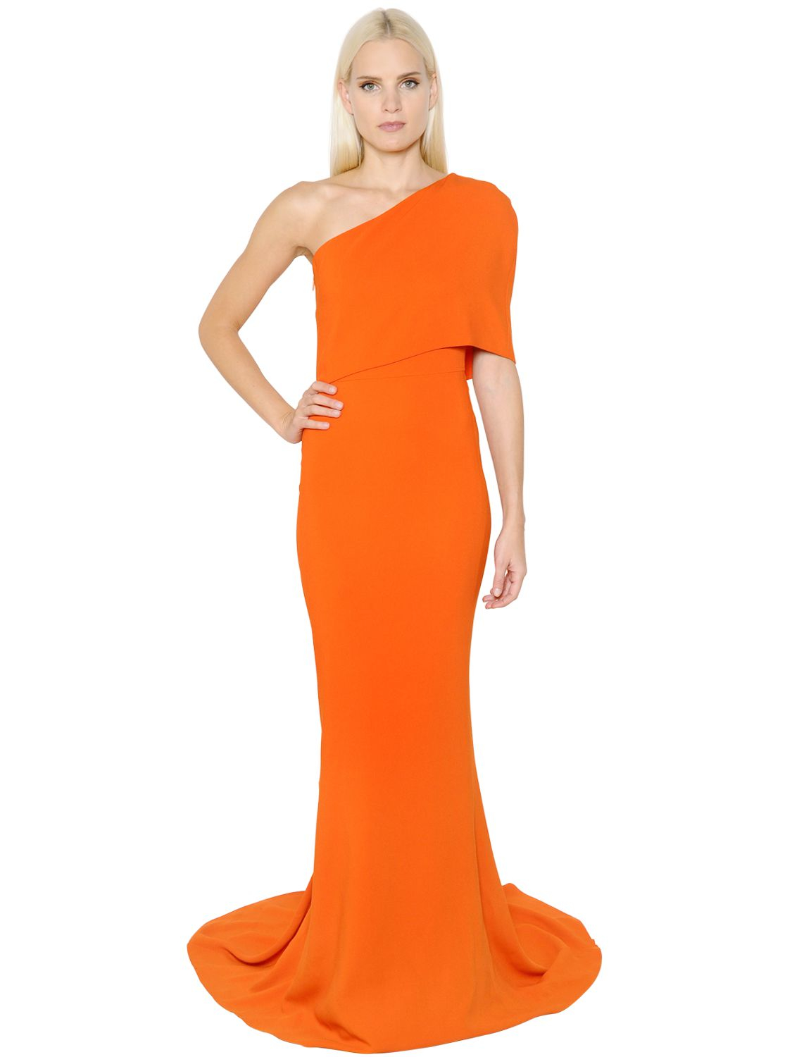 Lyst - Stella Mccartney One Shoulder Cady Dress in Orange