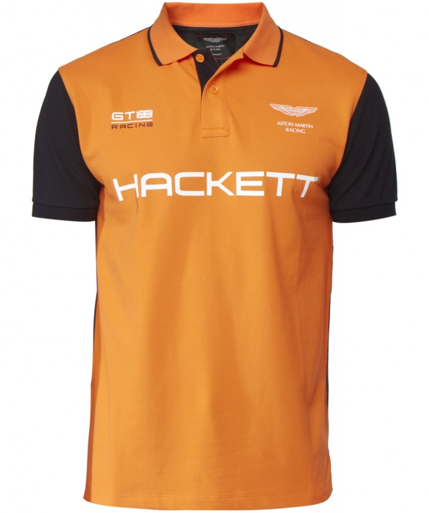 hackett aston martin racing polo shirt in orange for men. Black Bedroom Furniture Sets. Home Design Ideas