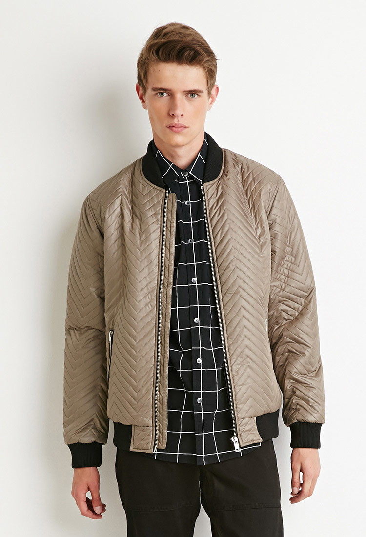 Forever 21 Chevron-patterned Bomber Jacket in Natural for Men | Lyst