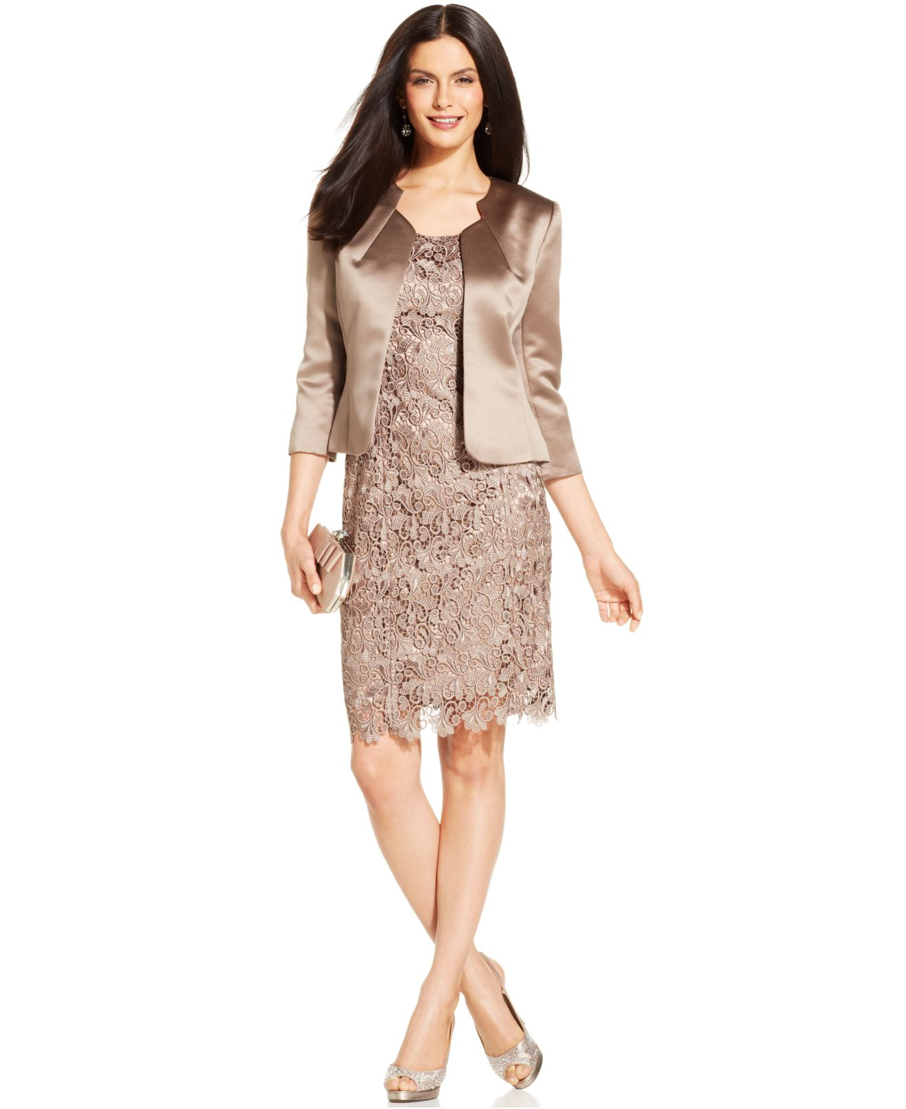 e1683f344465 Tahari Tahari Lace Dress Suit With Satin Jacket in Natural - Lyst