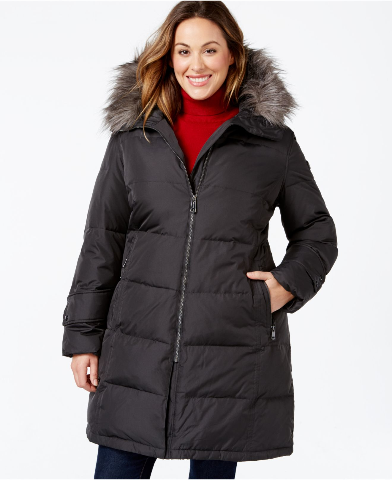 1b7aeeb3eb4 Calvin Klein Plus Size Hooded Faux-fur-trim Quilted Down Puffer Coat ...