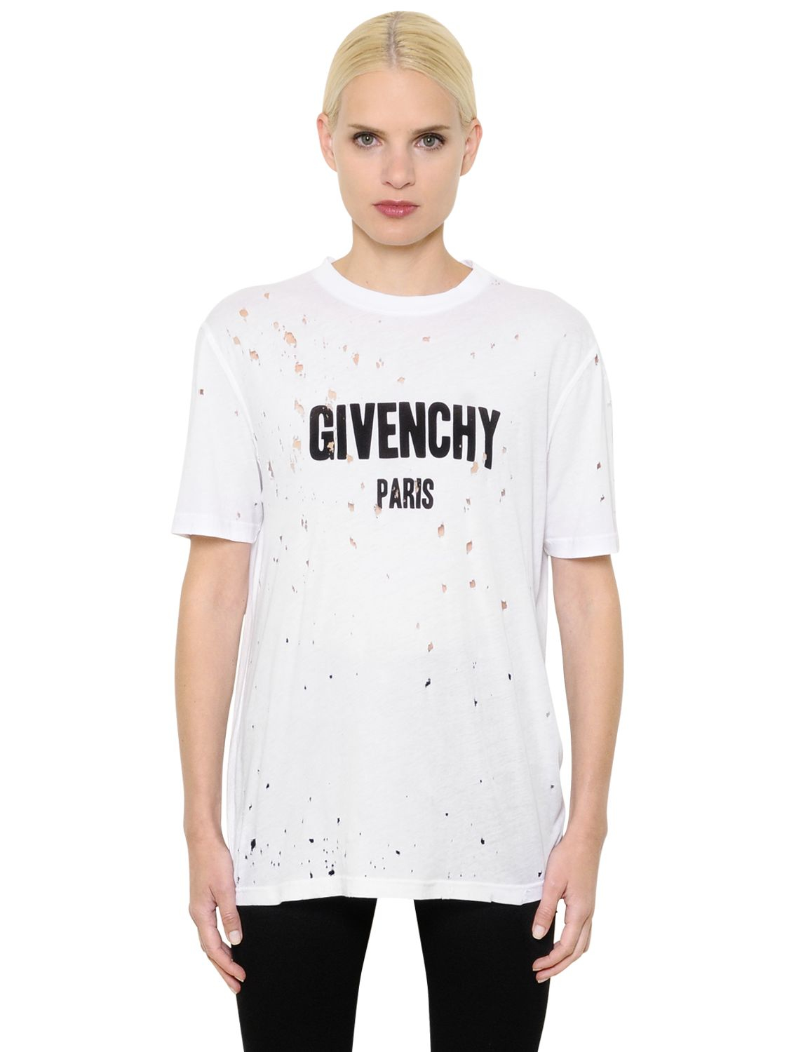 Lyst - Givenchy Logo Printed Destroyed Jersey T-shirt in White 180edb93d6