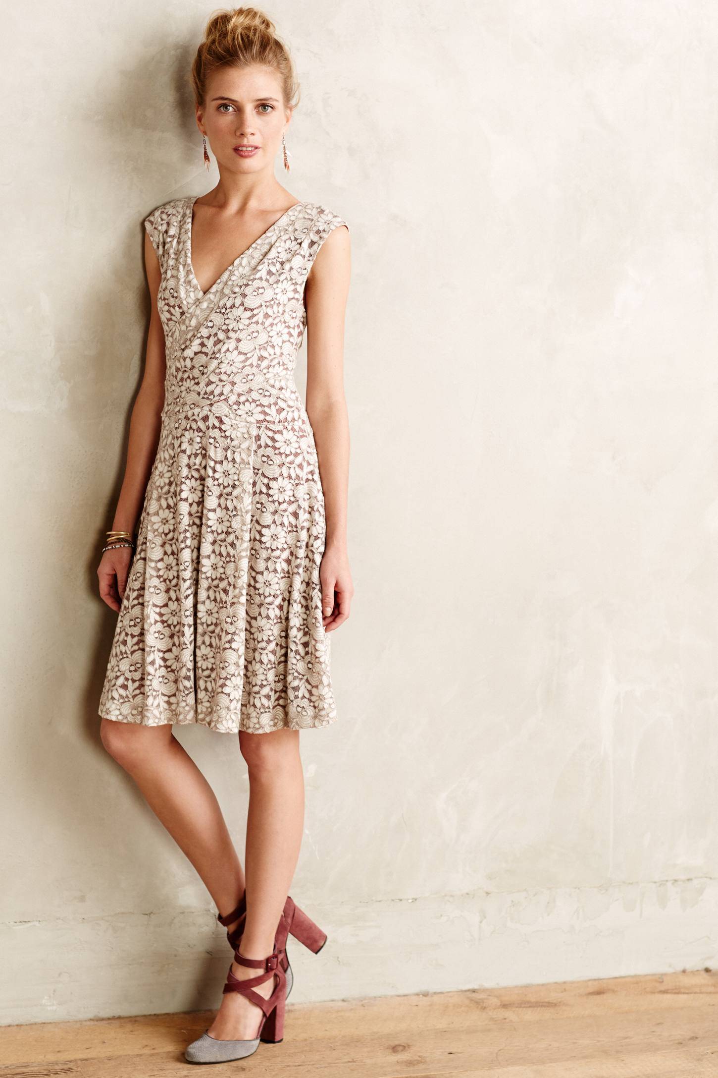 Maeve Brushed Lace Dress In White Lyst