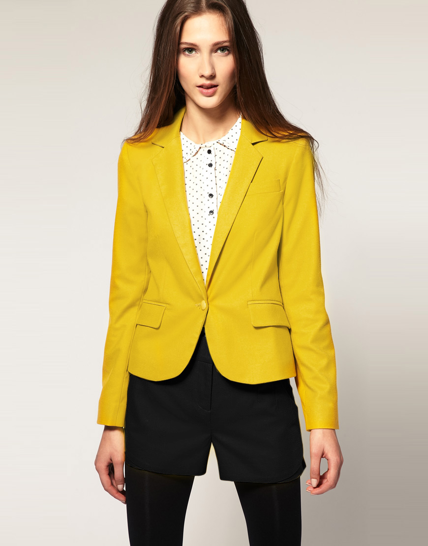 Asos Tux Blazer In Yellow Lyst