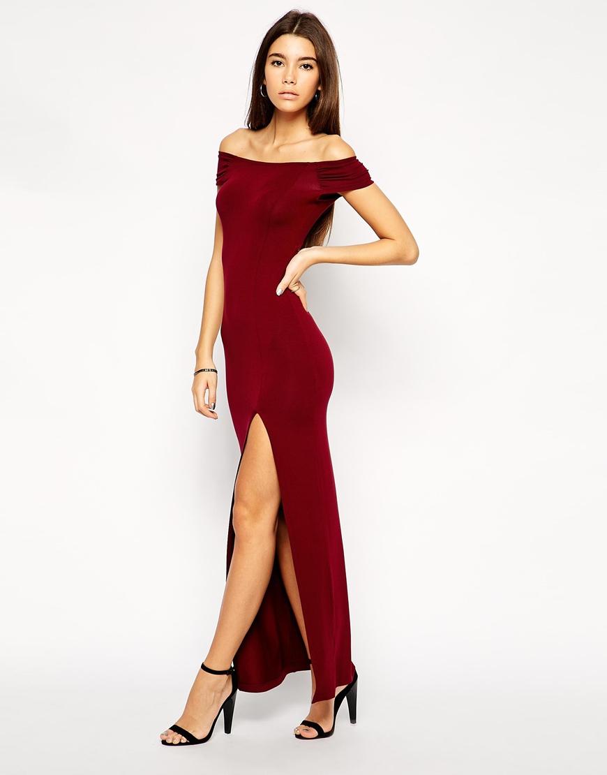 0e8db050023 ASOS Exclusive Bardot Body-Conscious Maxi Dress With Thigh Split in Black -  Lyst