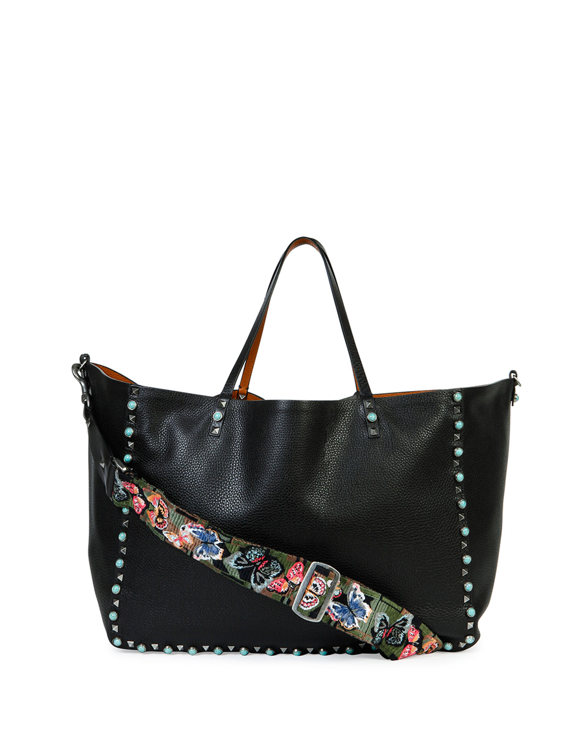 Lyst Valentino Rockstud Turquoise Guitar Strap Tote Bag