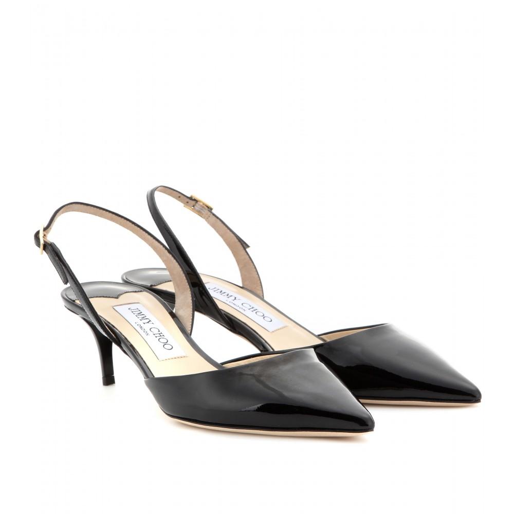 jimmy choo tide patent leather kitten heel sling backs in
