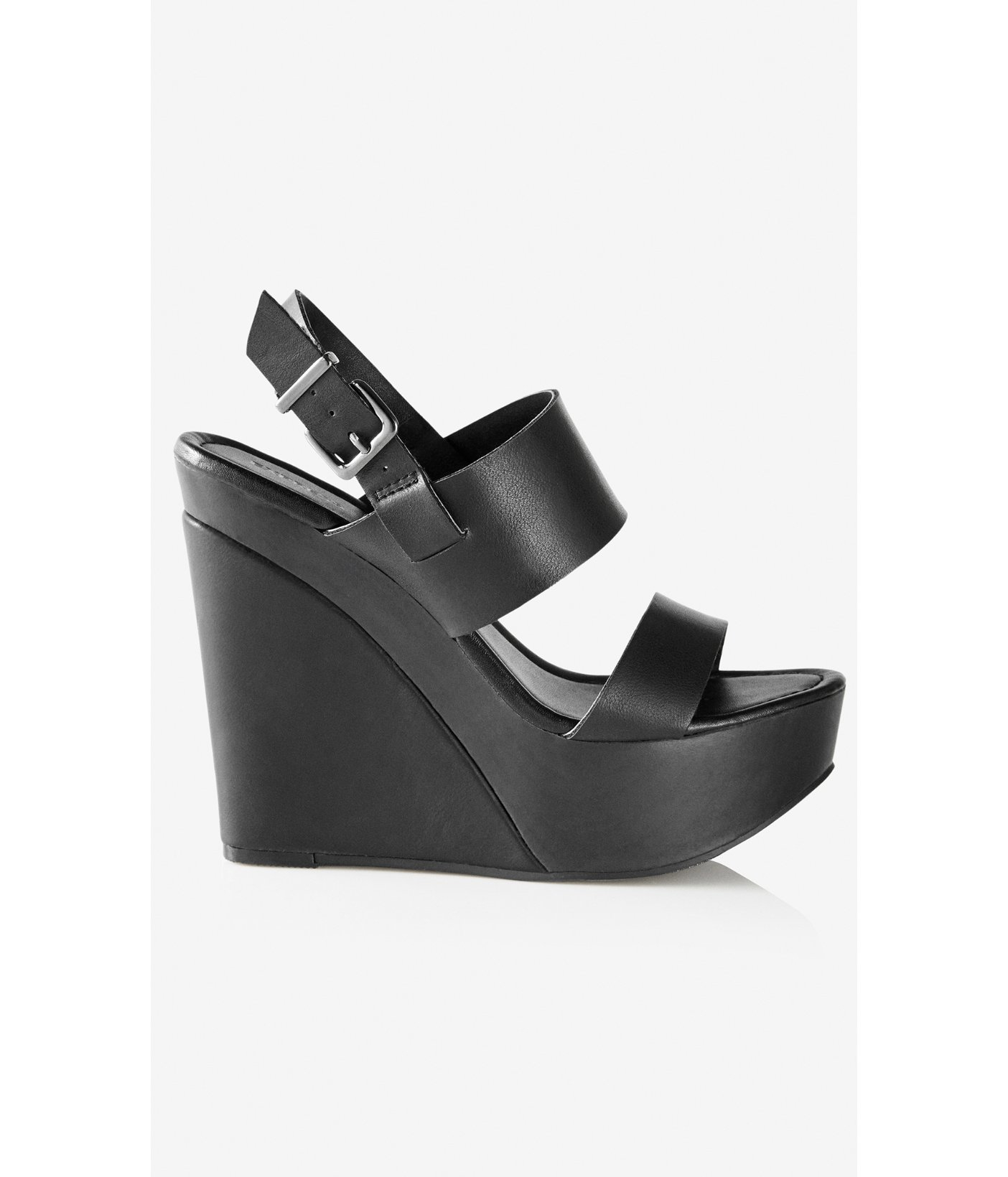 53155759eaf Express Wide Double Strap Platform Wedge Sandal in Black - Lyst
