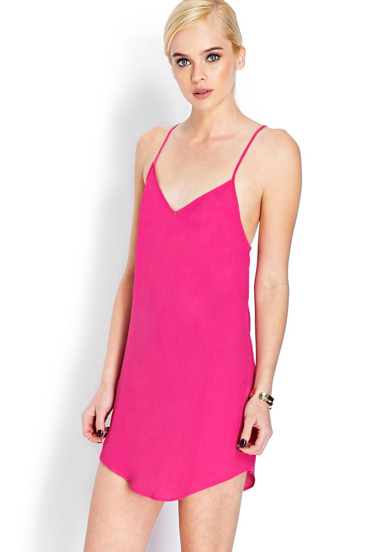 Forever 21 Flirty V-neck Dress In Pink
