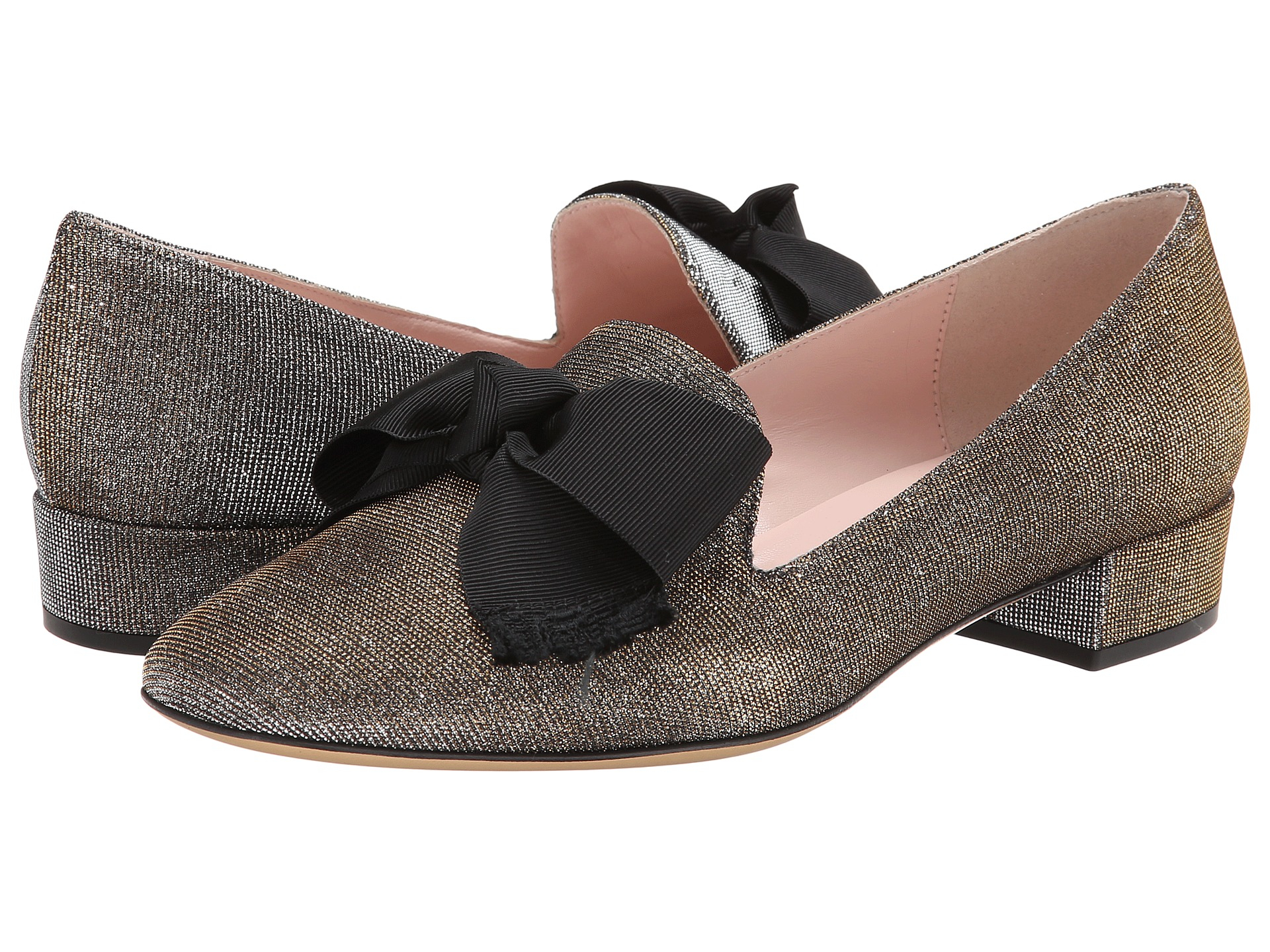 0b92bc4b29d3 Kate Spade Gino Glitter Bow Loafer Pump in Gray - Lyst