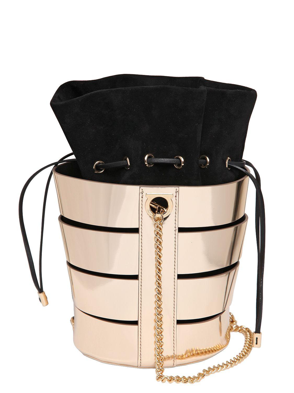 Ferragamo Cutout Metallic Nappa Bucket Bag in Gold (GOLD\/BLACK) - Lyst
