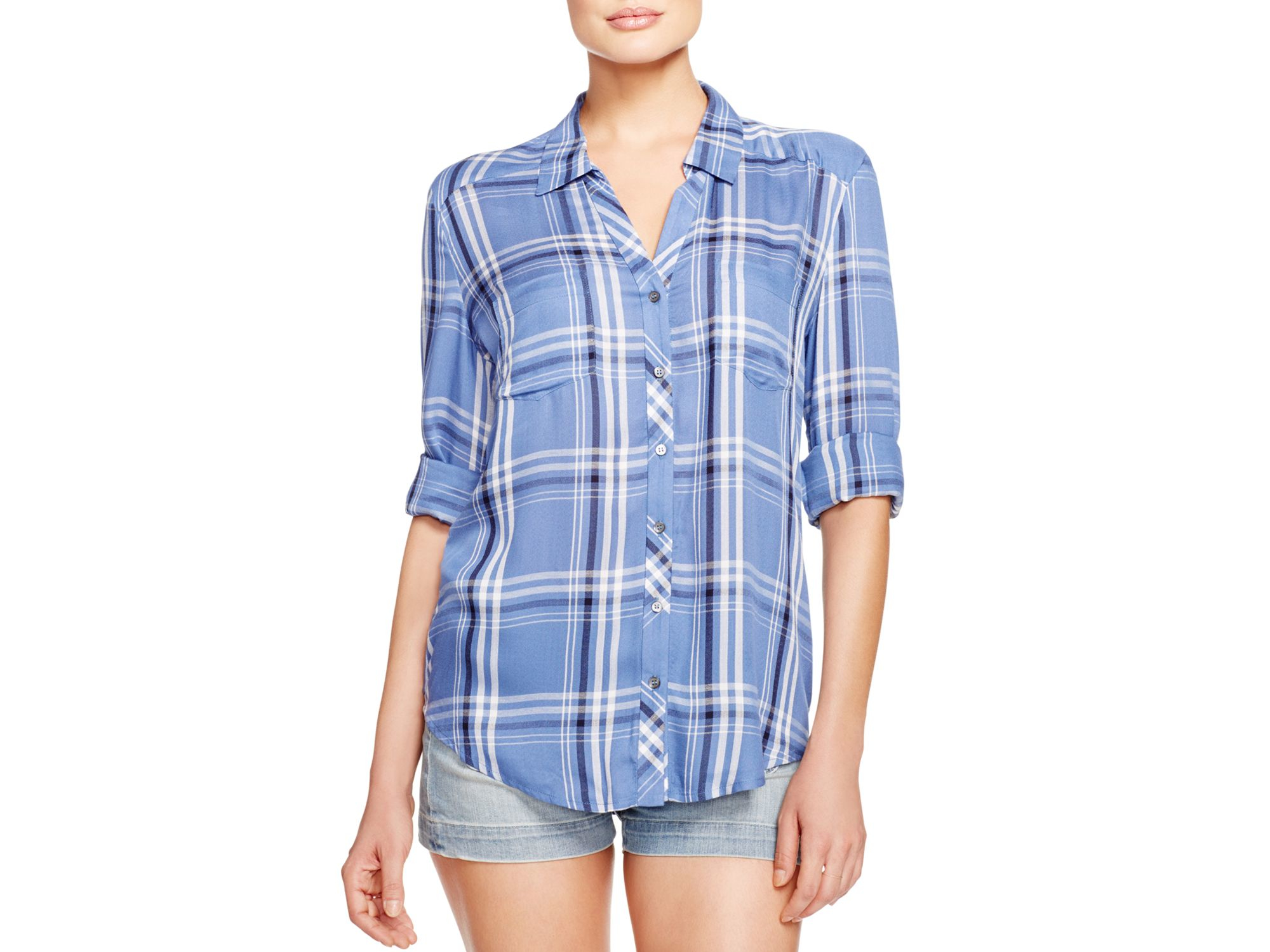 Soft joie daesha b plaid shirt in blue lyst for Soft joie plaid shirt