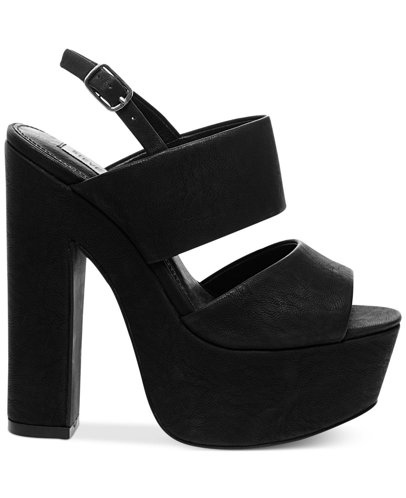 9cc86d1ce7a Lyst - Steve Madden Women s Wellthy Slingback Platform Sandals in Black