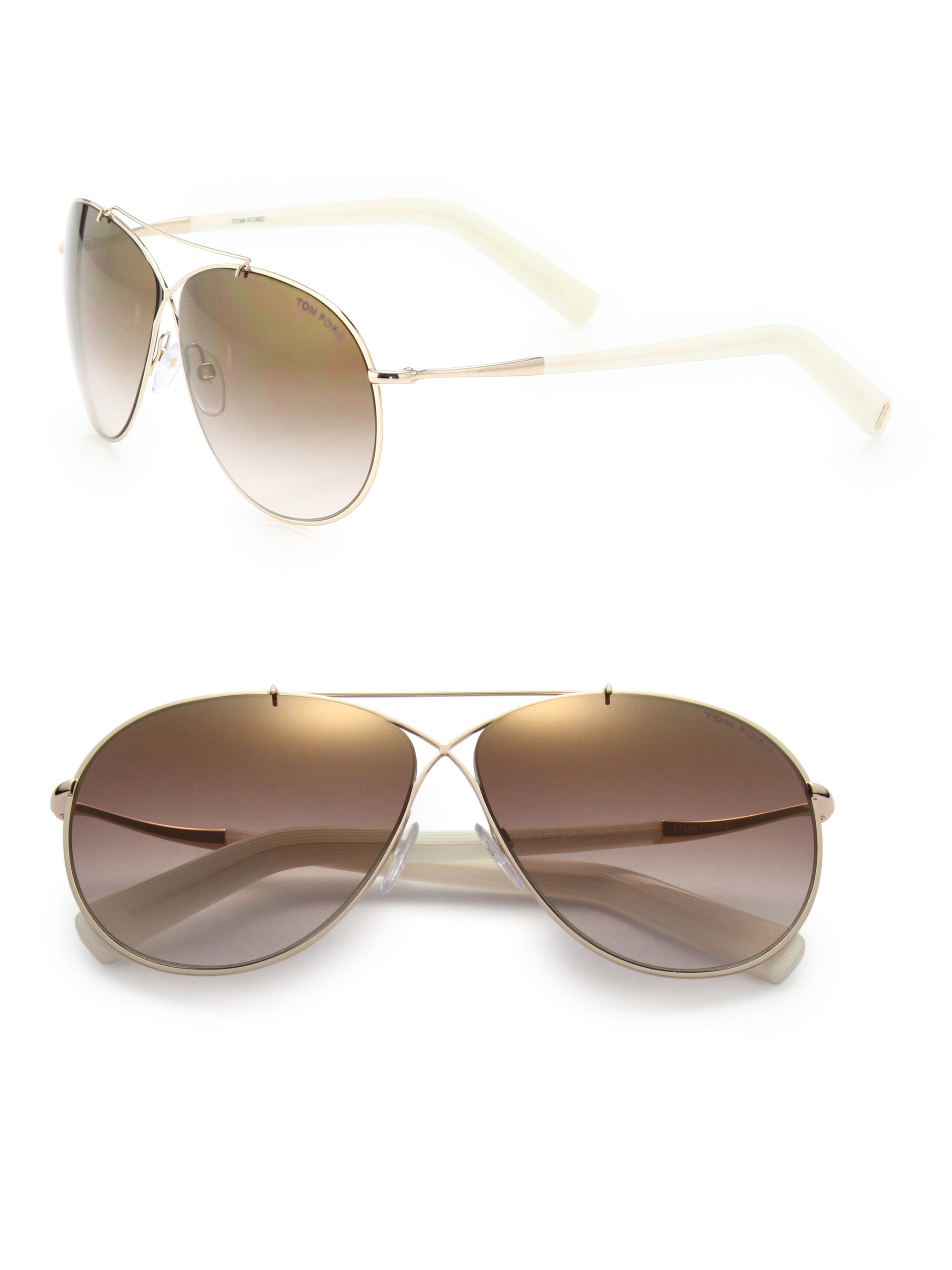 c82c84e141f3c Lyst - Tom Ford Eva 61mm Aviator Sunglasses in Metallic