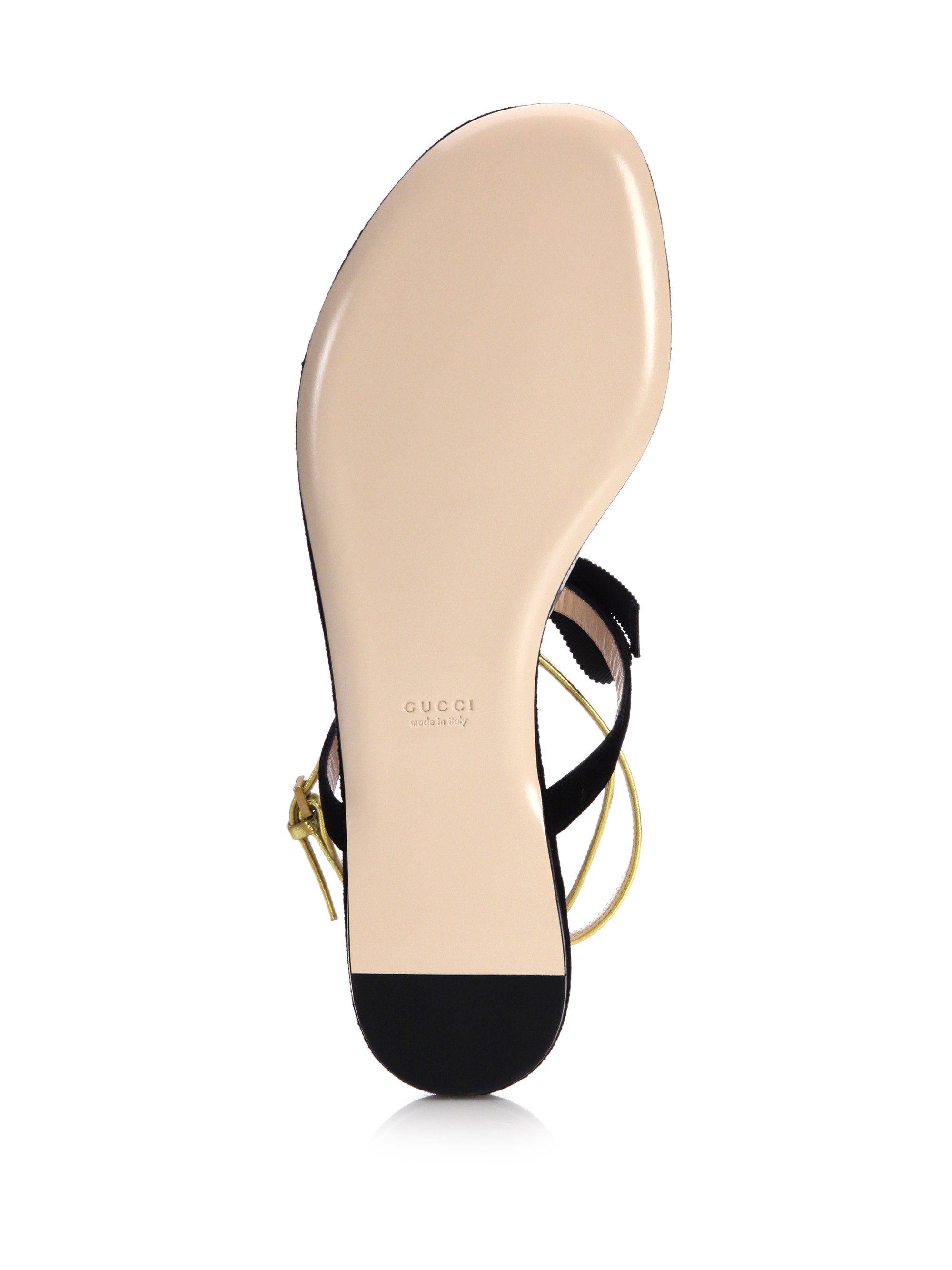 da9e332cd605b4 Lyst - Gucci Moody Suede and Leather Sandals in Black