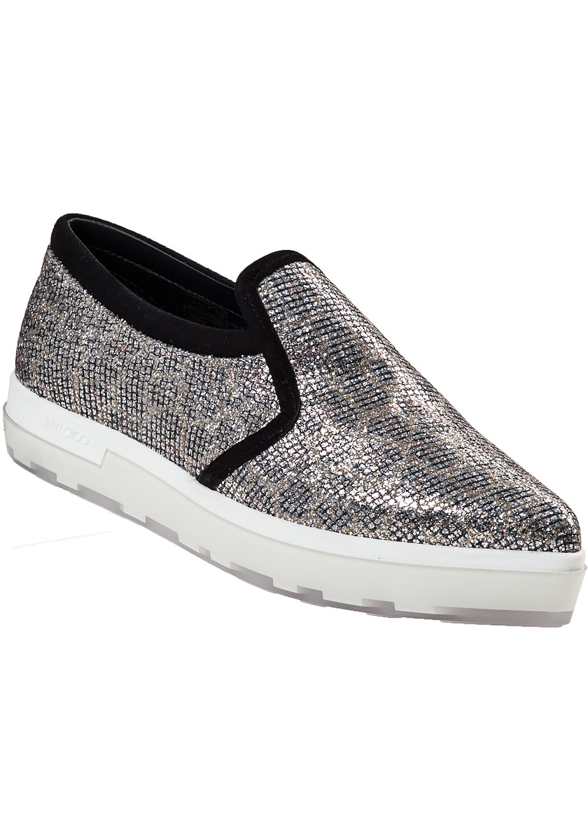 jimmy choo brooklyn slip on sneaker champagne glitter in metallic lyst. Black Bedroom Furniture Sets. Home Design Ideas