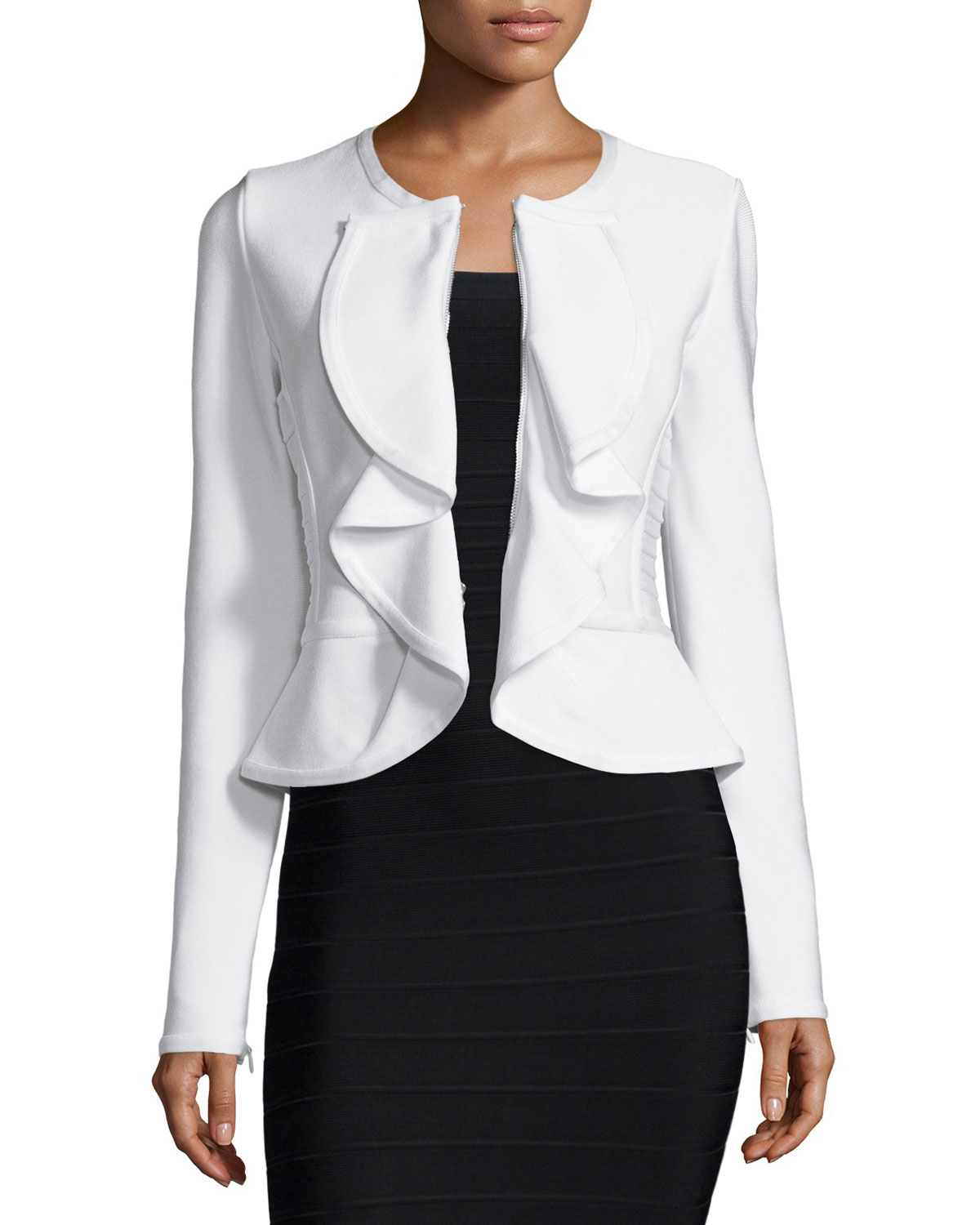 Hervé léger Ruffle-Front Fitted Jacket in White   Lyst